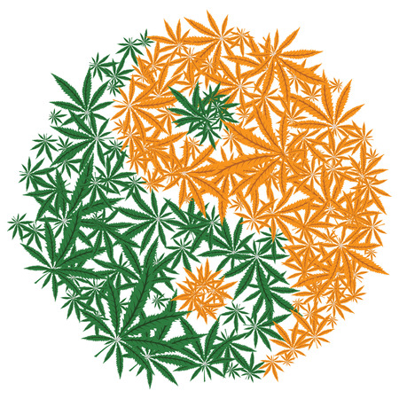ying yan: Colorful marijuana design Illustration
