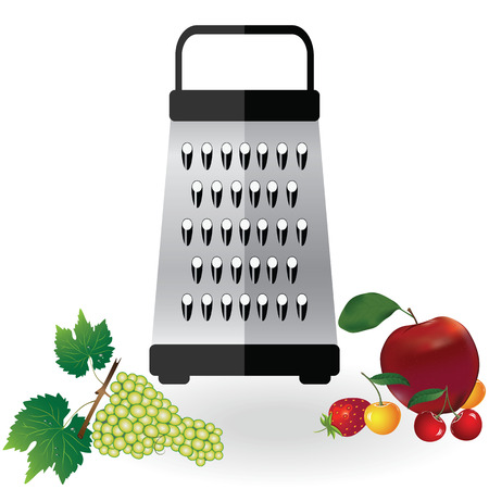 Grater metallic icon and fruits apple, strawberry, cherry, grapes illustration. Kitchen equipment steel food cut accessory isolated on white. Illustration