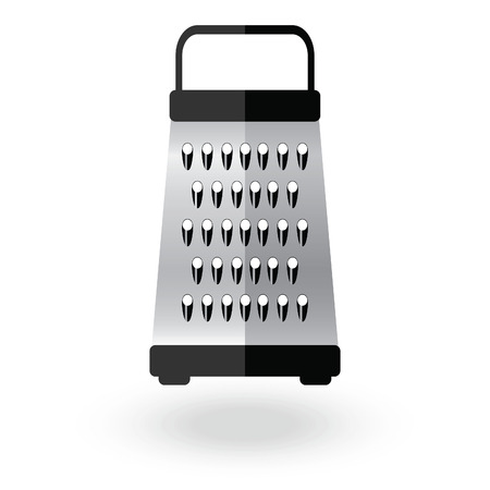 grind: Grater metallic icon sign illustration. Kitchen equipment steel food cut accessory isolated on white. Illustration