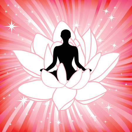 yogi aura: Woman in the yoga lotus flower asana sport on wave background. Silhouette pose in front of petal. Energy medicine illustration. Element for design.