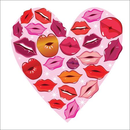 seductive couple: lips in a heart icon Illustration