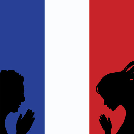 nice guy: France national flag. Man and woman hands praying. Illustration