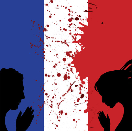 mourn: France national flag. Man and woman hands praying for Nice.