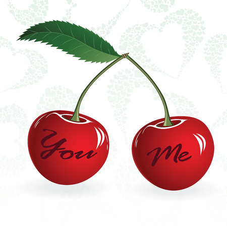 lovestruck: Seamless red cherry love valentine couple berry. Vector illustration. Element for design.
