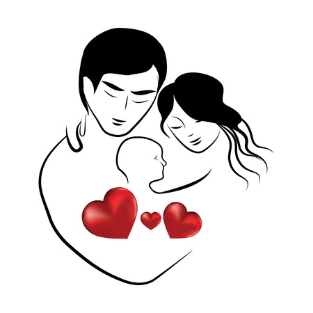 paternity: family heart icon, symbol parents sketch of lovely young married couple hugging little child vector illustration Illustration