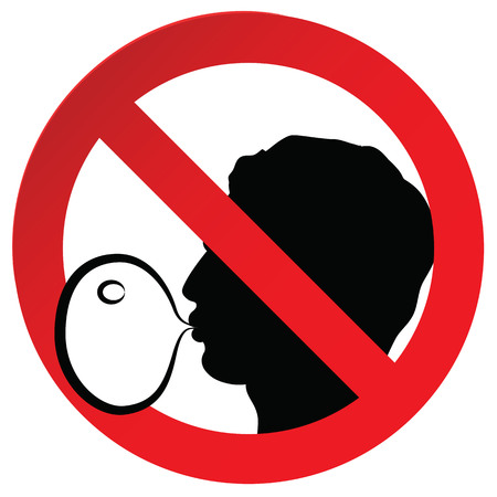 bubble gum: No chewing gum prohibited symbol sign on paper sticker, vector illustration against blowing a bubble gum
