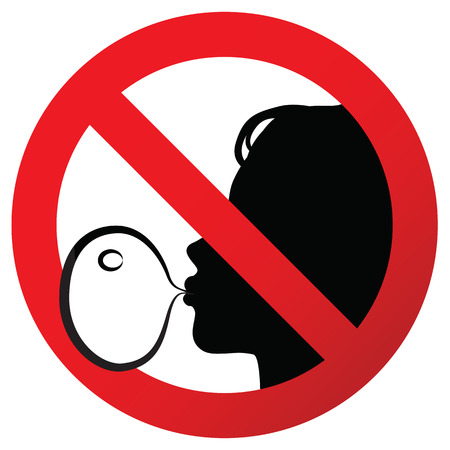 attention: No chewing gum prohibited symbol sign on paper sticker, vector illustration against blowing a bubble gum