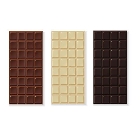 Schokolade Milch, dunkel, weiß, Vektor handgefertigt, Bio isoliert auf weiß
