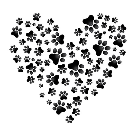 Adopt Dog Paw Heart vector animal help illustration