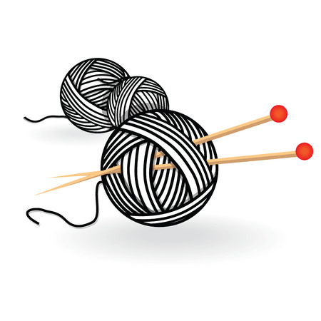 Hand drawn sketch yarn ball with needles for knitting. Vector black and white vintage illustration Illustration
