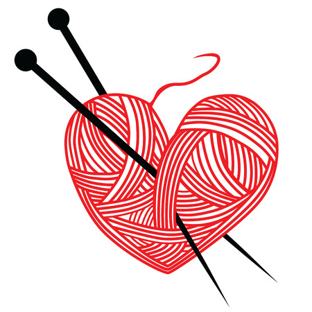 heart wool knitting needle isolates hobby handcraft logo Illustration