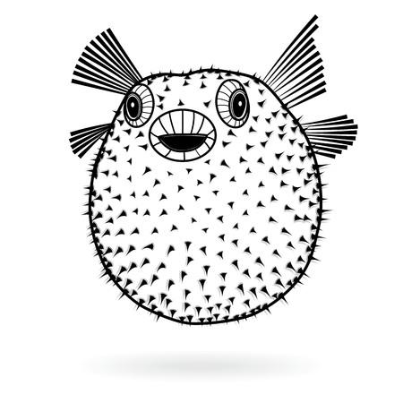 Puffer fish fugu silhouette sharp icon, vector illustration tattoo, cartoon style for T-shirts