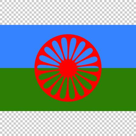 Flag of Romani People. Close Up vector Vector Illustratie