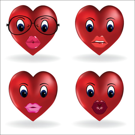 Emoji heart, smiley lip sexy creator. Vector design collection of emoticon body parts and accessories allows you to create your own cool female emojis. - Vector Ilustração