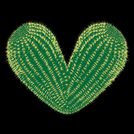 Thorny heart. Vector thorny cactus in the shape of heart illustration Ilustração