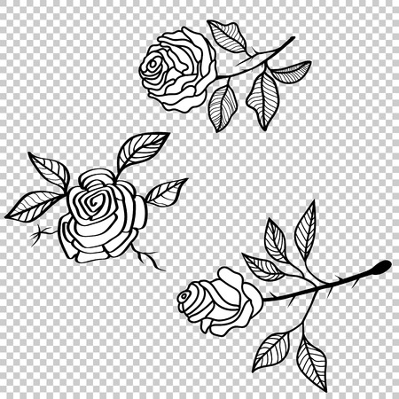 Vector rose flower tattoo pattern, floral fabric vintage wallpaper. Cute backdrop.