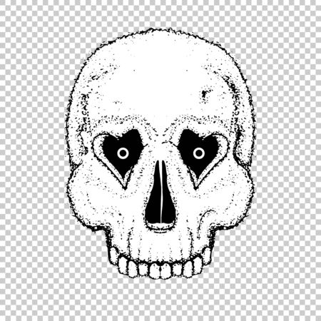 Human skull with heart love eyes for valentine day. Vector object scull illustration. People bone design tattoo. Halloween symbol.