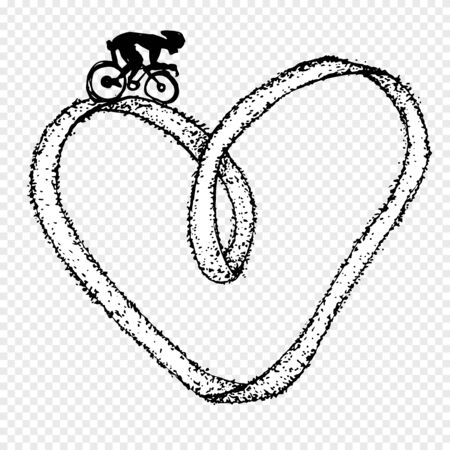 Sportsman ride by cycle on heart infinity symbol. Vector illustration. Archivio Fotografico - 133149023