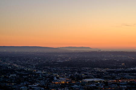 griffith: dusk, evening shot looking southeast from Griffith observatory