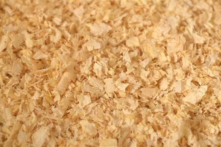 Close up texture of pine wood shavings, used as pet litter and bedding 写真素材 - 129457007
