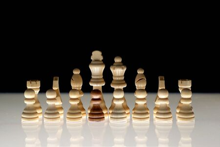White chess formation with a single black piece as a concept for undercover operations, infiltration, racial tension, ethnic minorities.