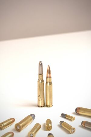 Bullets standing before many smaller bullets. Concept for power, obedience, domination, dictatorship. The bullet on the left is a Mannlicher-Schoenauer 6.5mm. The other at 7.62 x 51mm NATO.