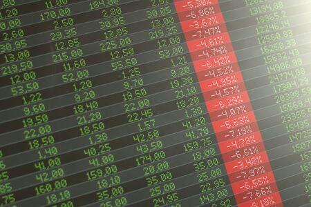 Caída del mercado de valores, pánico. Pantalla de computadora que muestra números rojos negativos en todos los ámbitos.