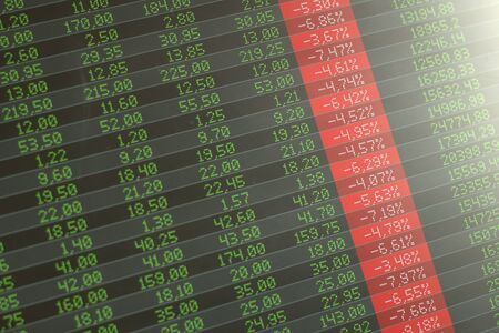 Stock market crash, panic. Computer screen showing red negative numbers across the board.