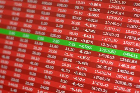 Safe investment in stock market crash, concept. Red negative prices and a single winning stock in green.