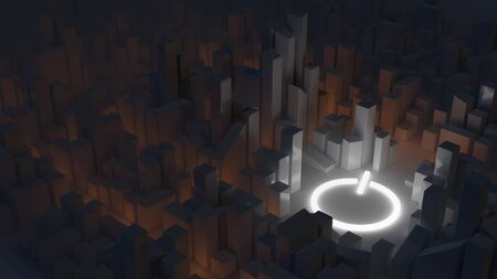 Smart cities, modern urban environment concept. City at night with a power symbol. Abstract 3D render.
