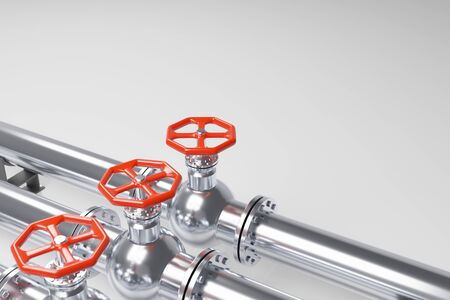Stainless steel pipelines with red valves on white Imagens