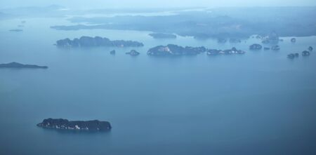 Tropical islands off the coast of Phuket, Thailand. Aerial view.