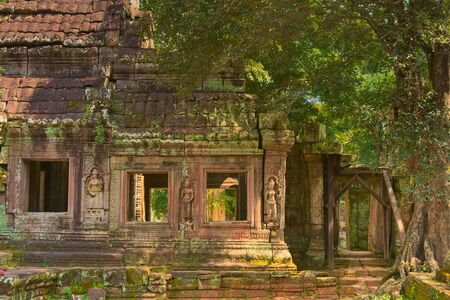 Apsaras in bas-relief on the columns of Ta Prohm temple ruins, located in Angkor Wat complex near Siem Reap, Cambodia. Foto de archivo