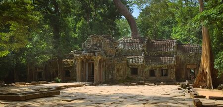 Front courtyard of Ta Prohm temple ruins, located in the Angkor Wat complex near Siem Reap, Cambodia.