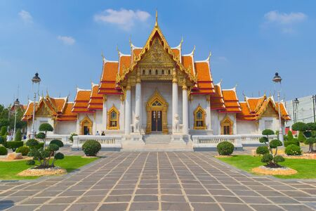 Temple of Wat Benchamabophit, located in Bangkok, Thailand, also known as the Marble Temple. Front view.