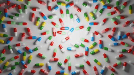 Multicolored pills on white background. Medical treatment, pharmaceutical industry concept. Digital 3D render.