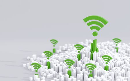 Wireless connectivity in urban environment. Modern, smart city concept. Digital 3D render.
