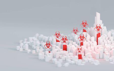 Disease outbreak in urban environment, biological hazard concept. Digital 3D render.