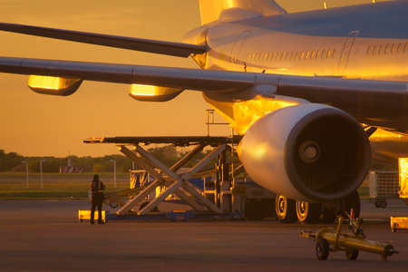 Airport ground crew loading cargo and luggage on a commercial aircraft at dawn. Redakční