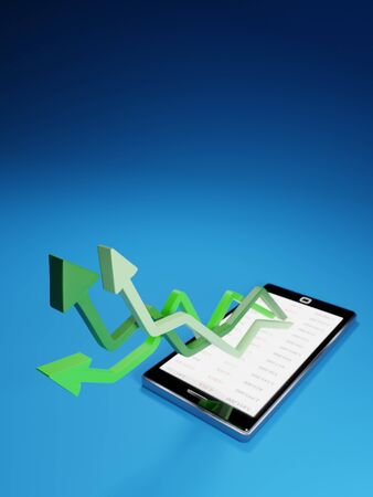 Stock market gains using a mobile device. Green arrows rising from a smartphone. Concept background digital 3D render.