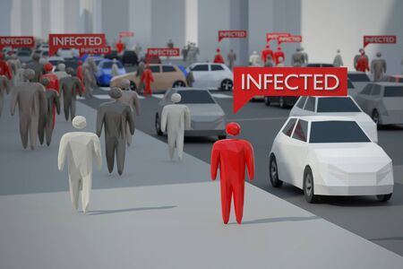Infected people walking on a city street. Digital 3D render concept.