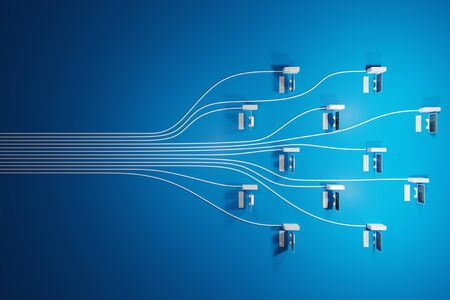 Cloud computing, network infrastructure concept on blue background with negative space. Digital 3D render. Stock Photo