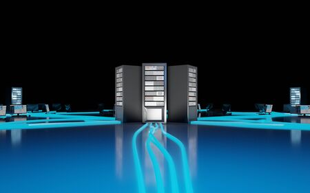 Cloud computing, network infrastructure. Computer workstations connected to data center. Digital 3D render concept. Stock Photo