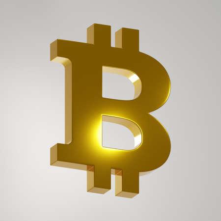 Golden bitcoin sign on white background. Digital 3D render. Archivio Fotografico - 151073212