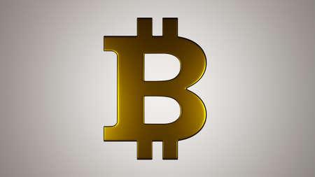Golden bitcoin sign on white background. Digital 3D render.