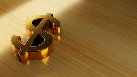 Golden dollar sign on a wooden surface. Digital 3D render. Archivio Fotografico - 151072727