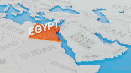 Egypt highlighted on a white simplified 3D world map. Digital 3D render. Archivio Fotografico