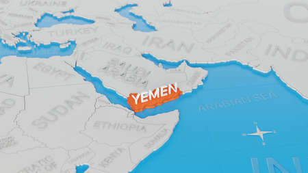 Yemen highlighted on a white simplified 3D world map. Digital 3D render.