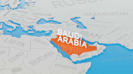 Saudi Arabia highlighted on a white simplified 3D world map. Digital 3D render.