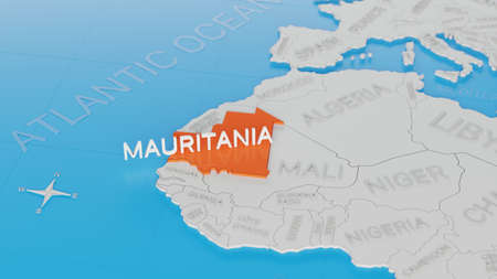 Mauritania highlighted on a white simplified 3D world map. Digital 3D render. Archivio Fotografico